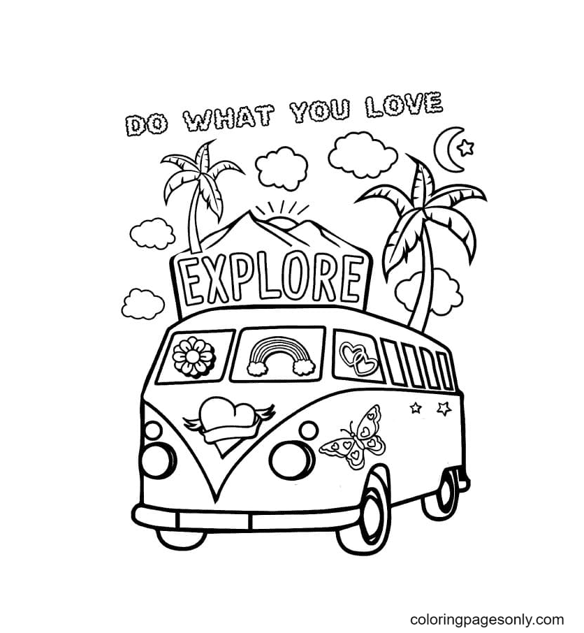 Aesthetic Summer vans Coloring Page