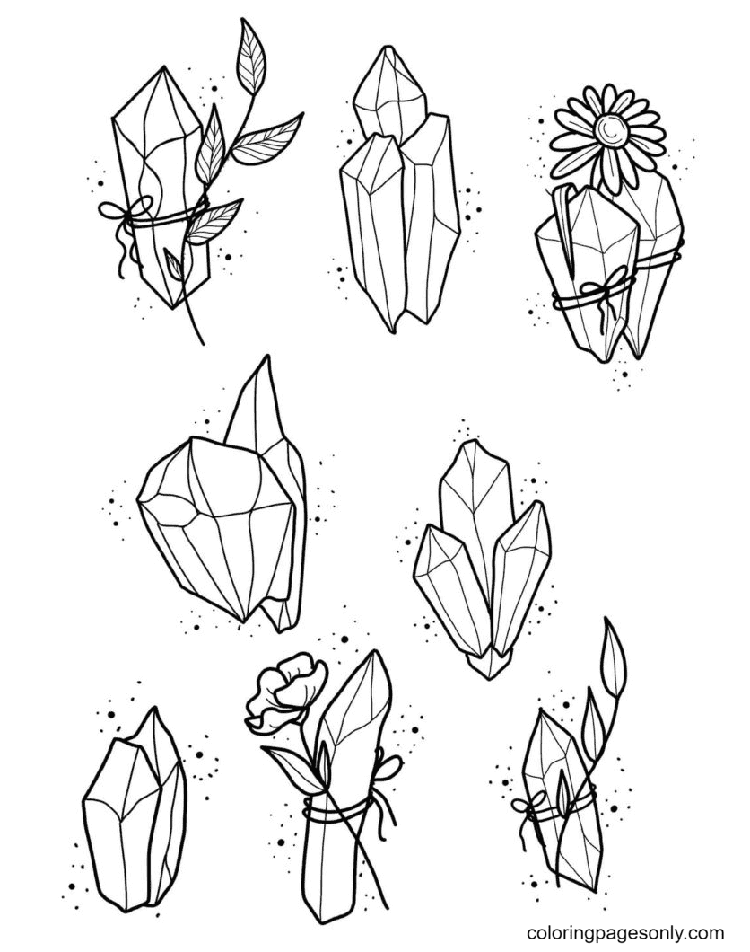 Aesthetics Crystals Coloring Page
