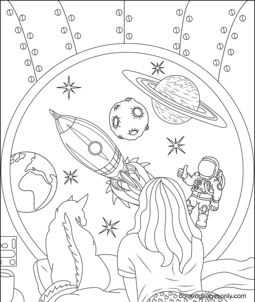 Aesthetics Girl, Cat and Space Coloring Page