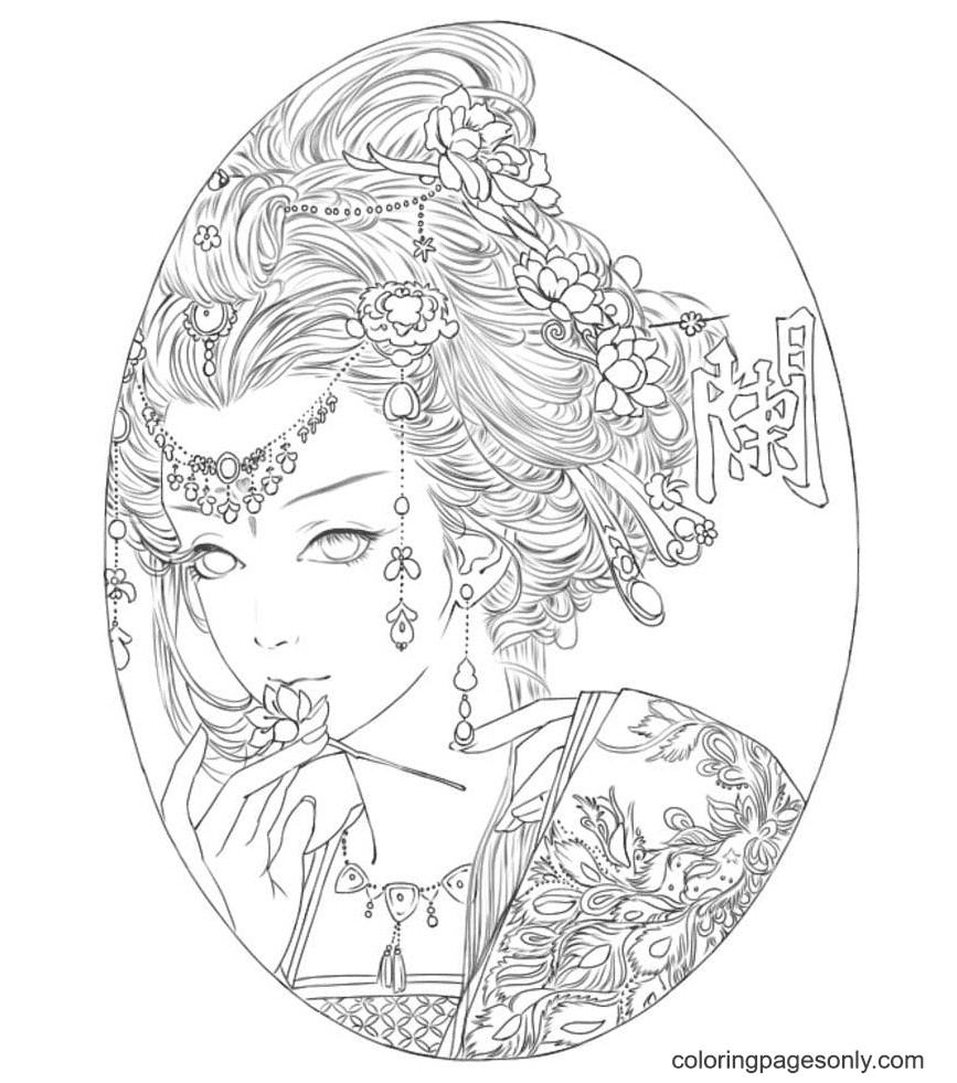 Aesthetics Girl with Jewelry Coloring Page
