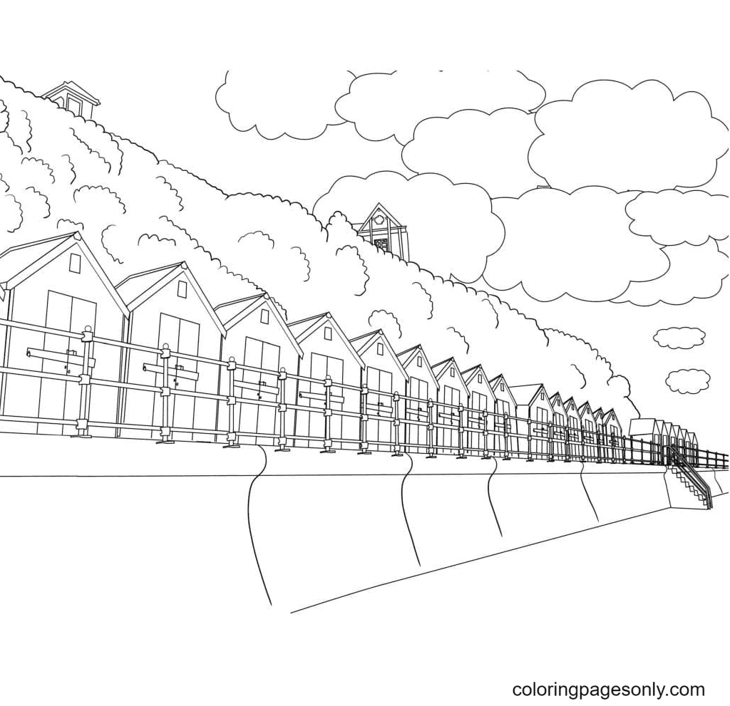Aesthetics Houses Coloring Page