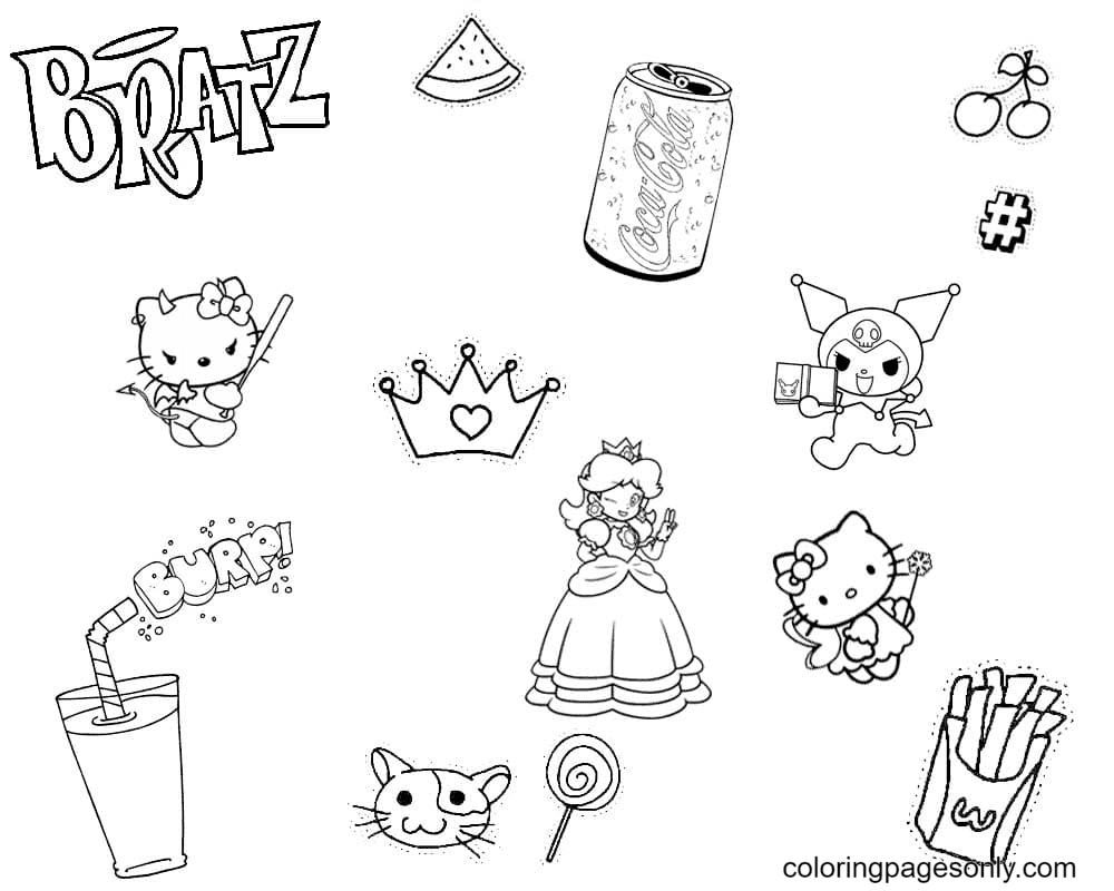 Aesthetics for Girls Hello Kitty Coloring Page