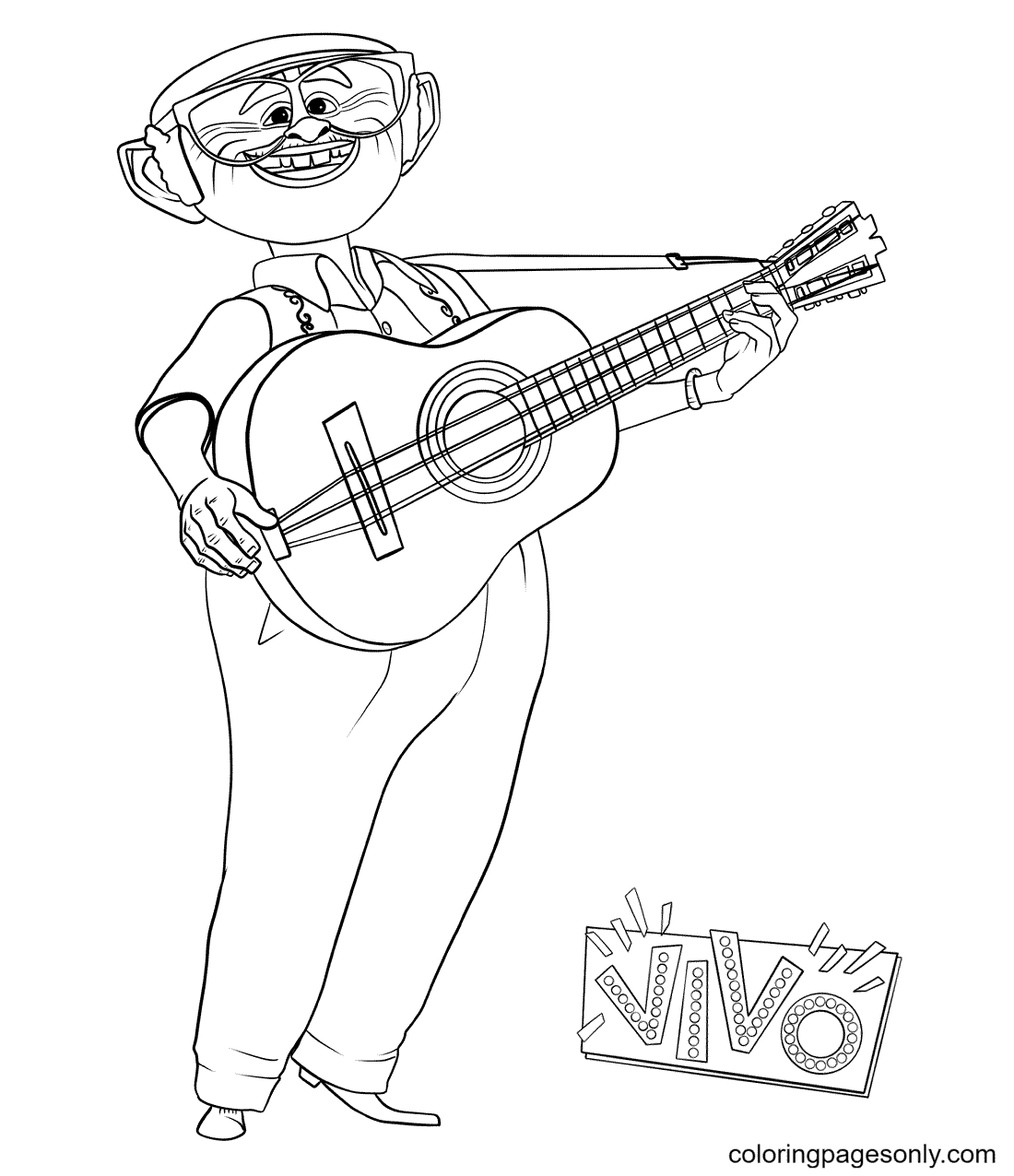 Andres with Guitar Coloring Page