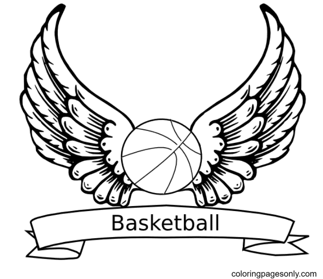 Angel Wings Basketball Ball Coloring Page