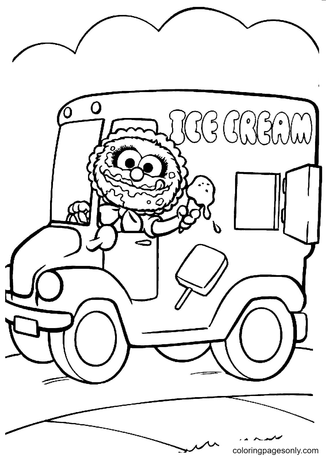 Animal drives Ice Cream Van Coloring Page