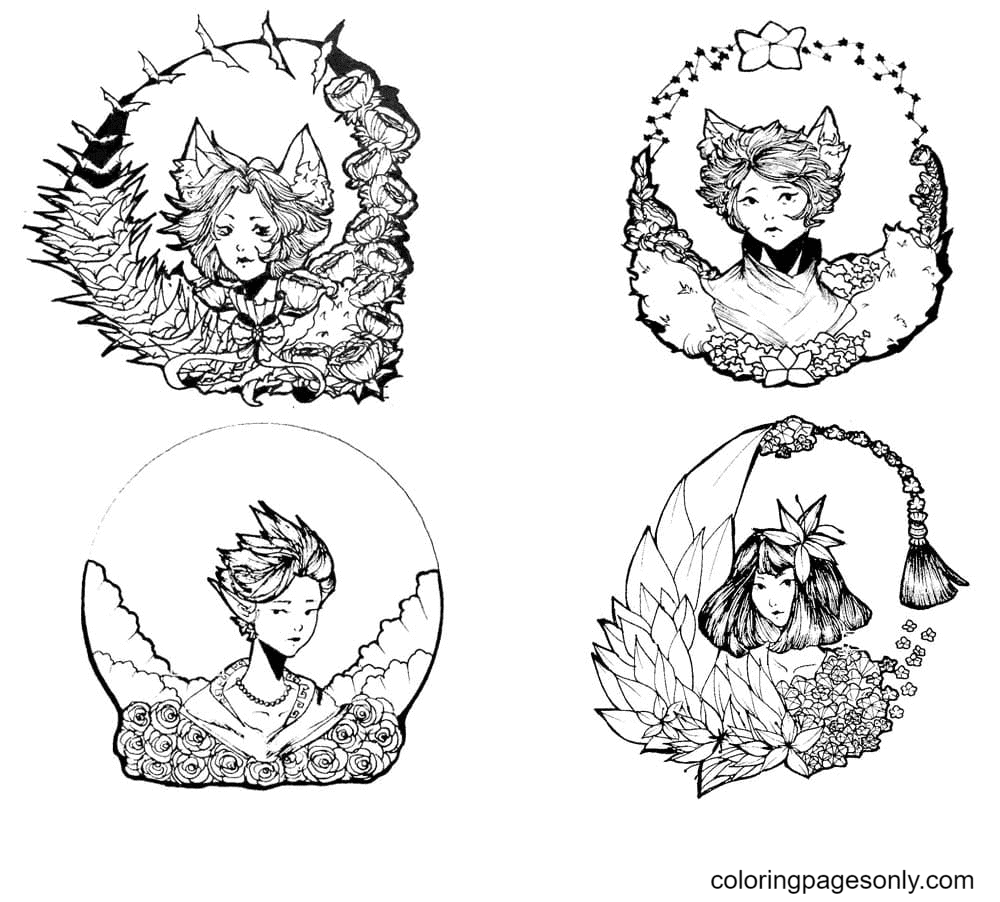 Anime Aesthetics Coloring Page