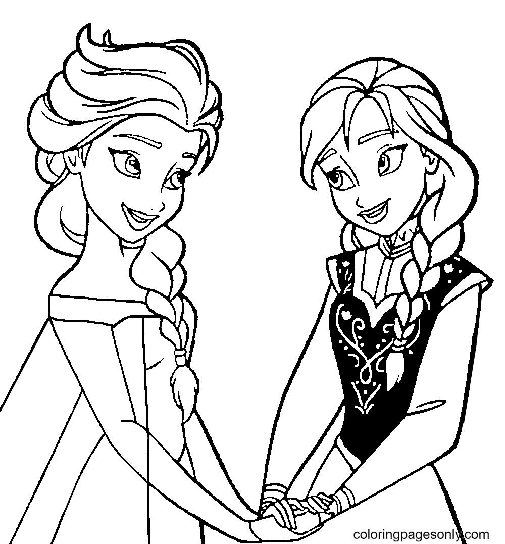 Anna & Elsa Frozen Coloring Page