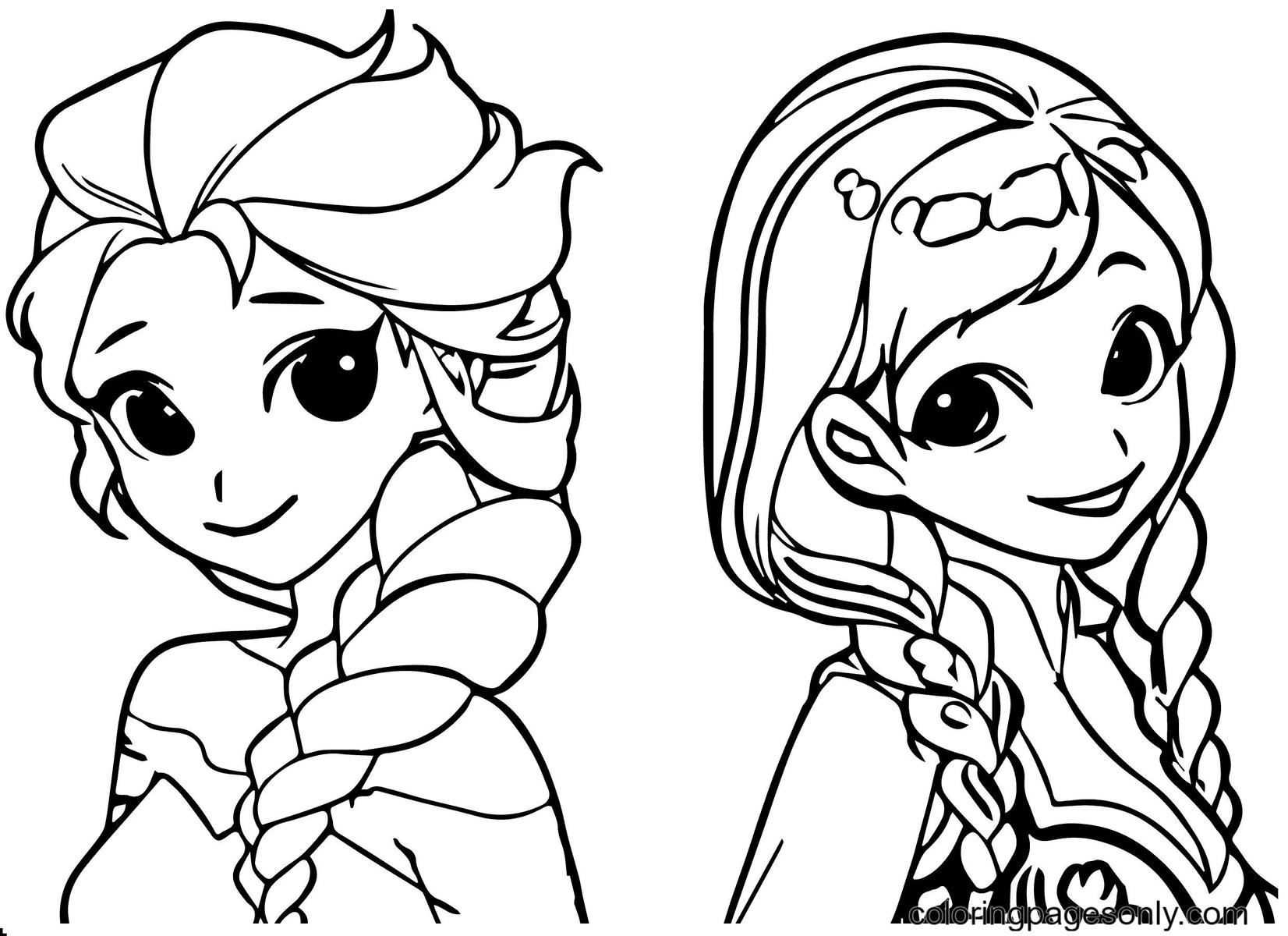 Anna & Elsa Coloring Page
