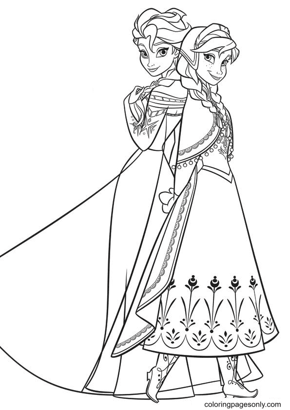 Anna and Elsa Beautiful Coloring Page