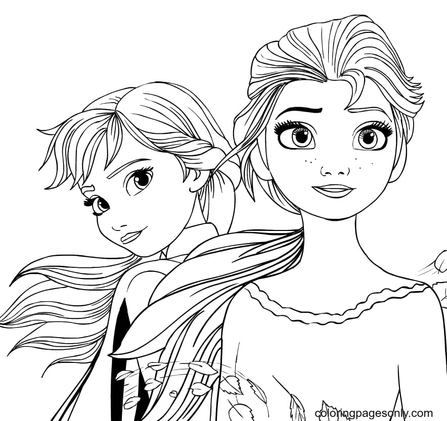 Anna and Elsa Frozen II Coloring Page