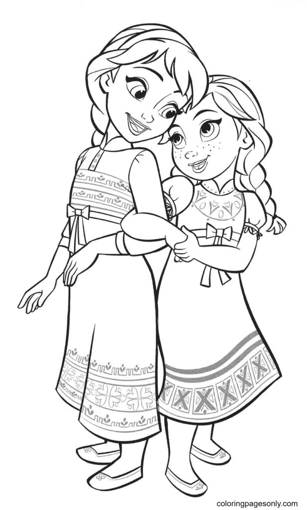 Anna and Elsa in Childhood Coloring Page