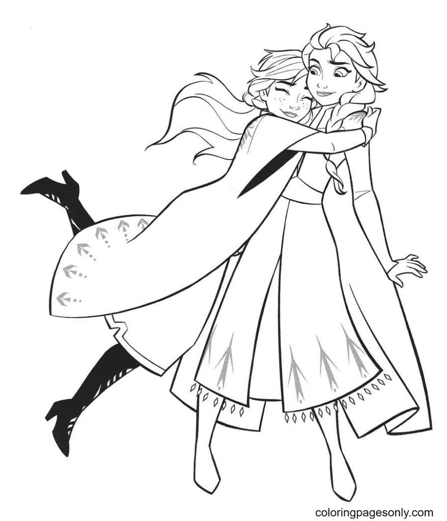 Anna hugs Elsa Coloring Page