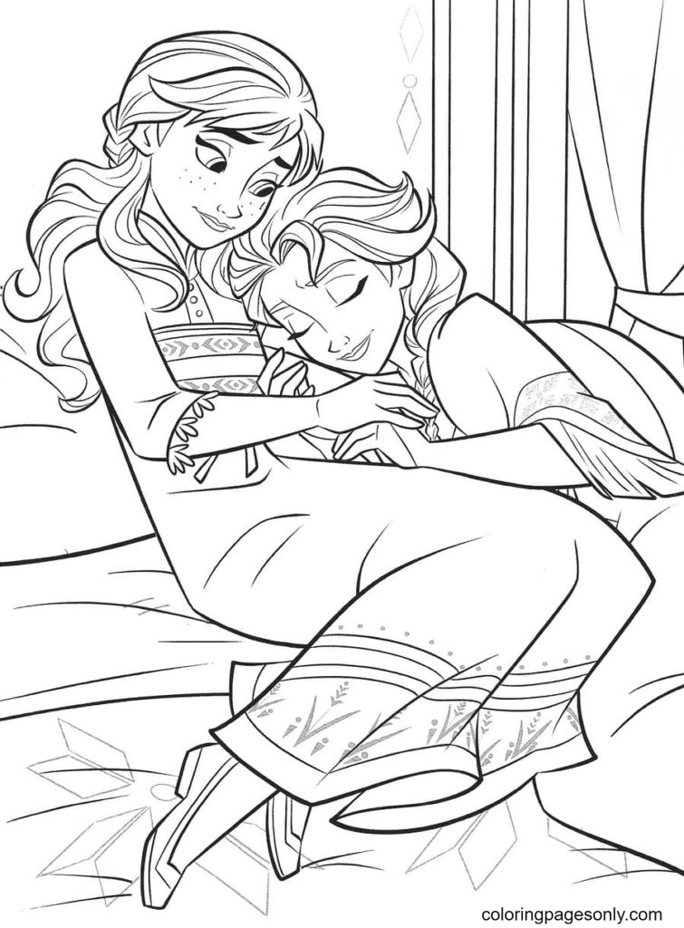 Anna watches Elsa sleep Coloring Page