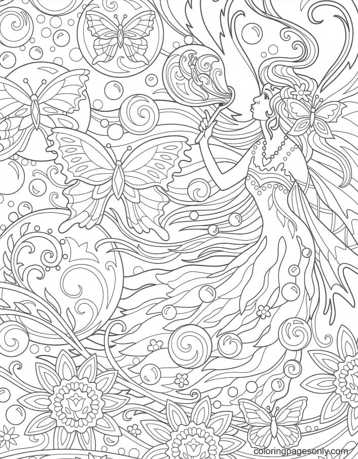 Antistress Fairy and butterflies Coloring Page