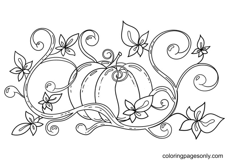 Autumn Halloween Pumpkin Coloring Page