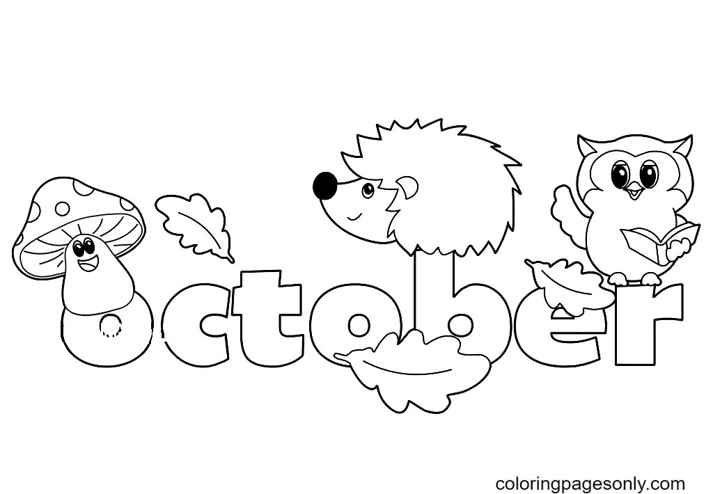 Autumn October Month Coloring Page