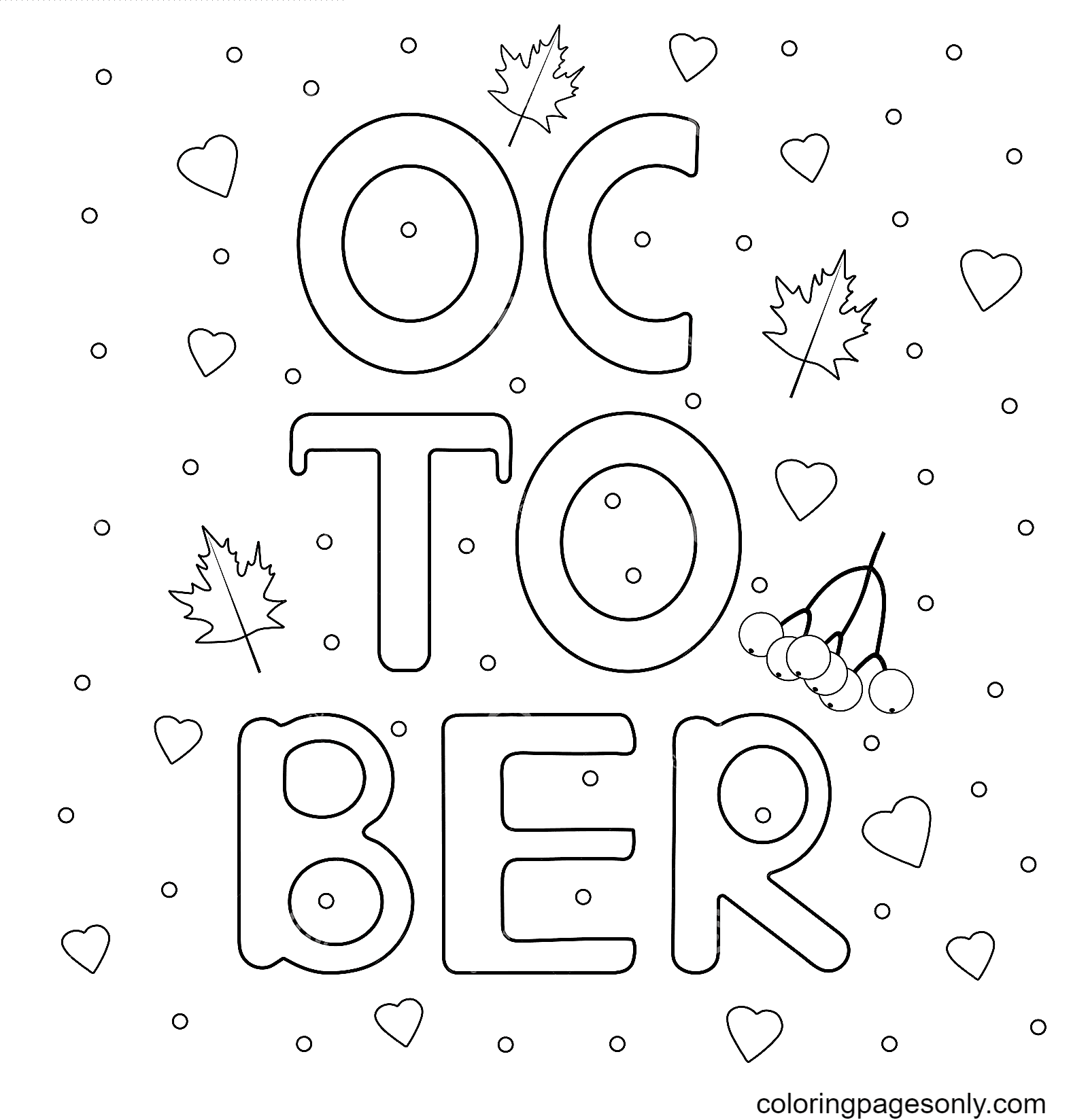 Autumn October Coloring Page