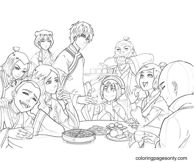 Azula made a party Coloring Page