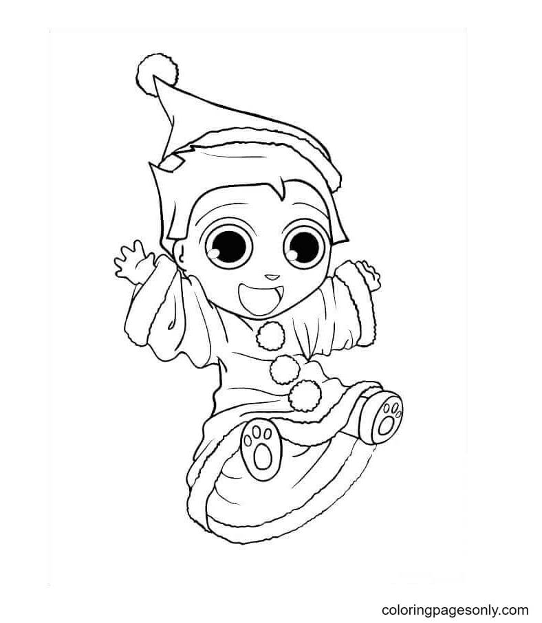 Baby Elf Jumping With Joy Coloring Page