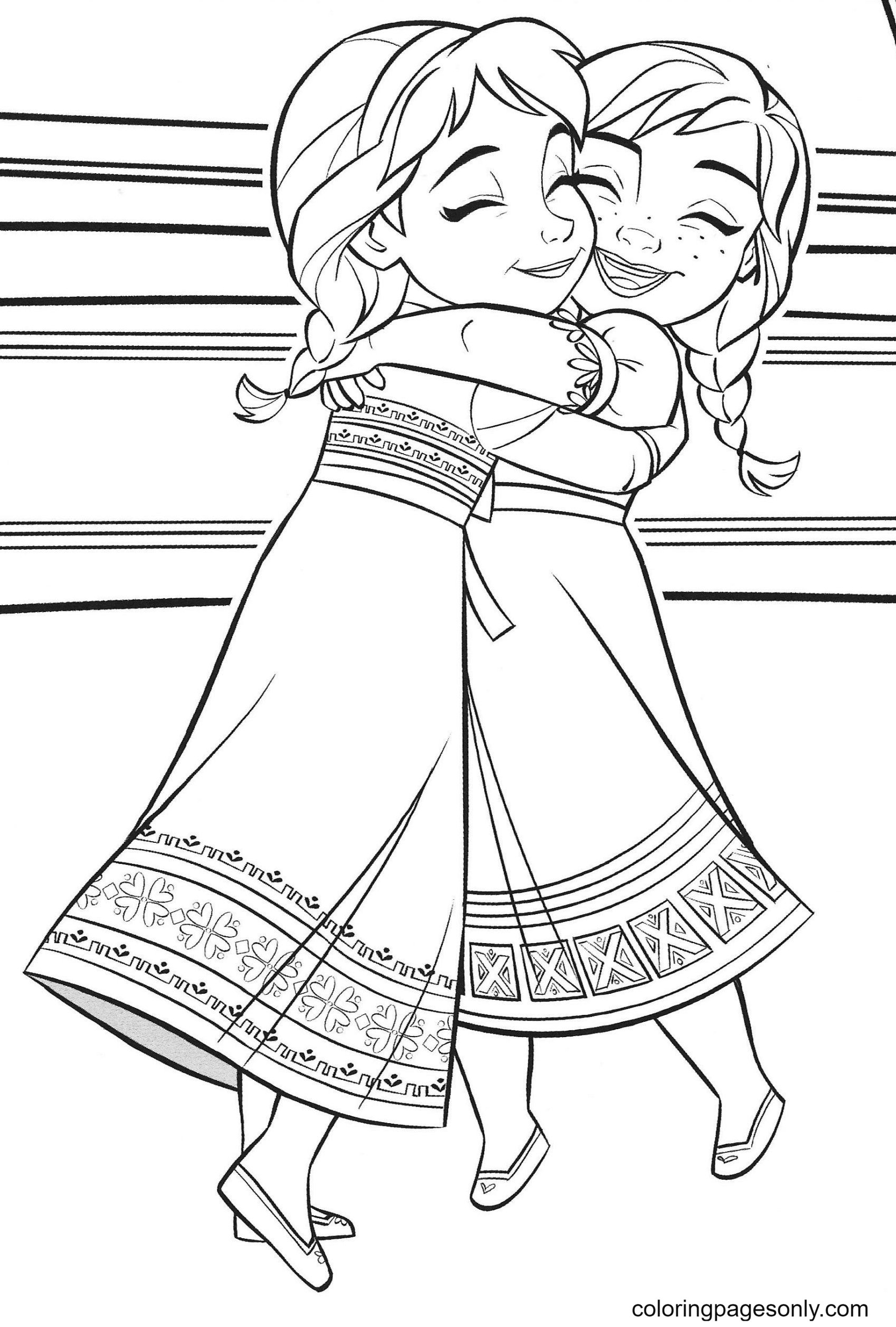 Baby Elsa and Anna Frozen Coloring Page
