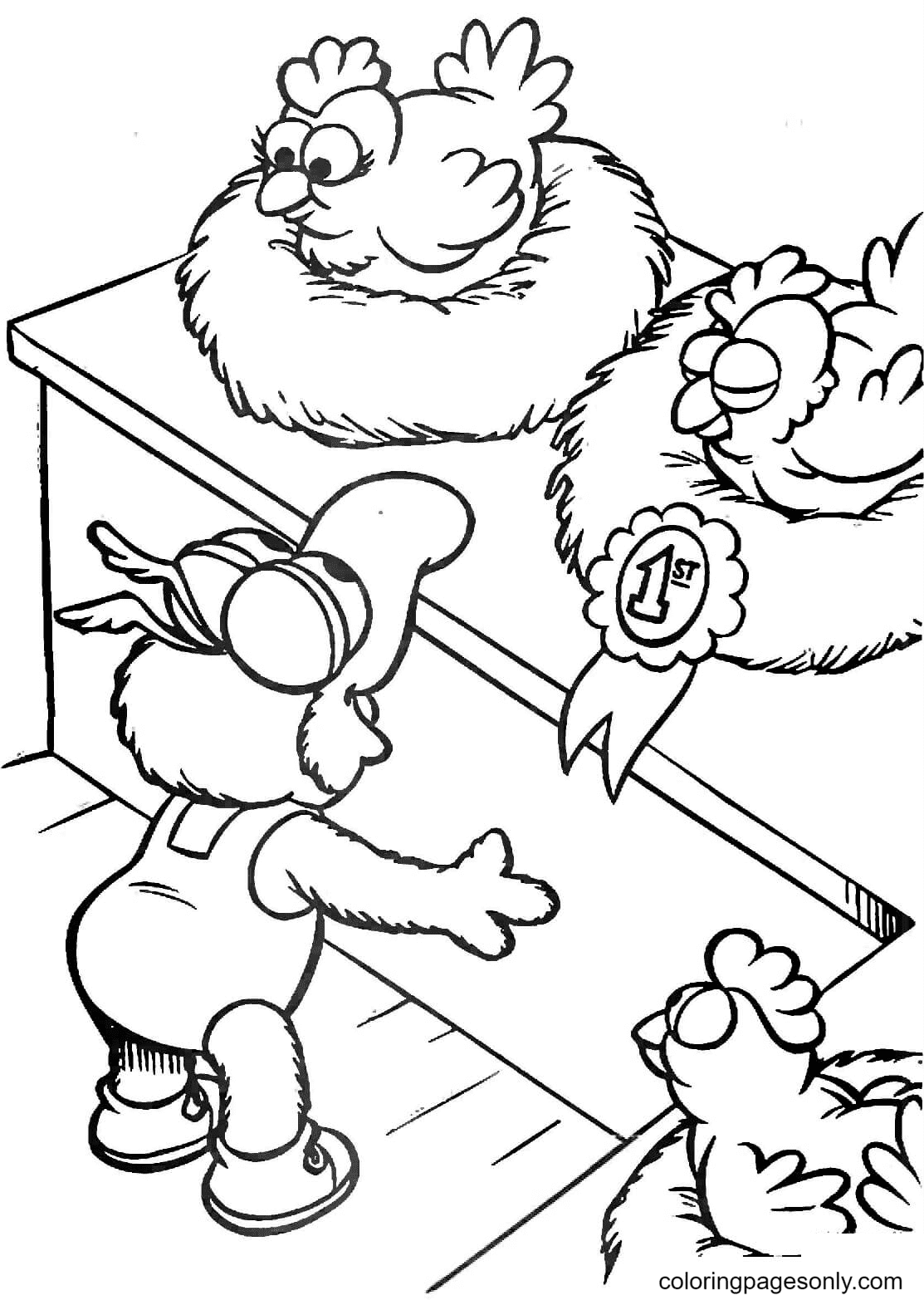 Baby Gonzo and Chickens Coloring Page