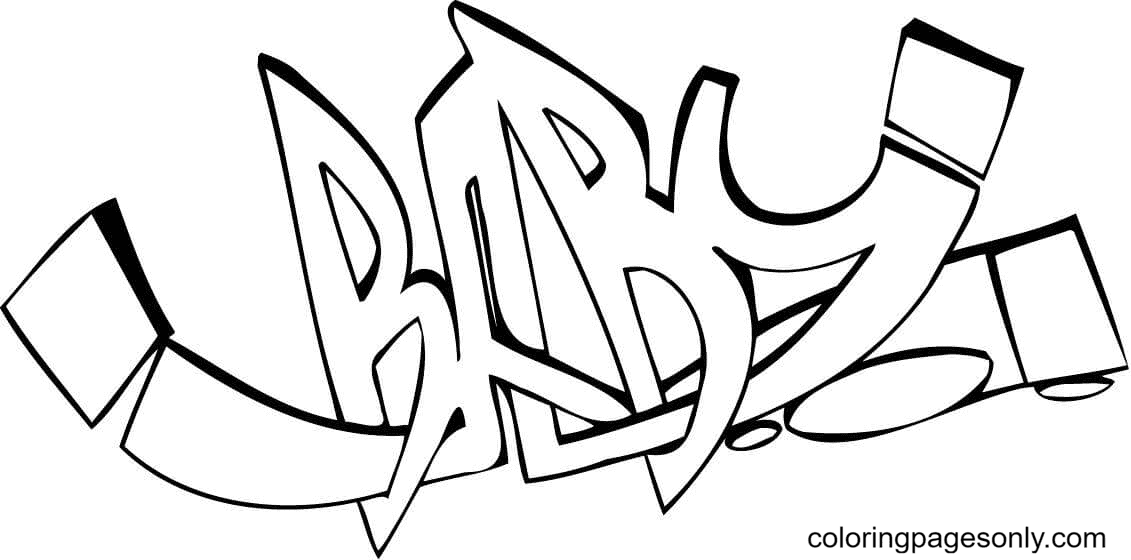 Baby Graffiti Coloring Page