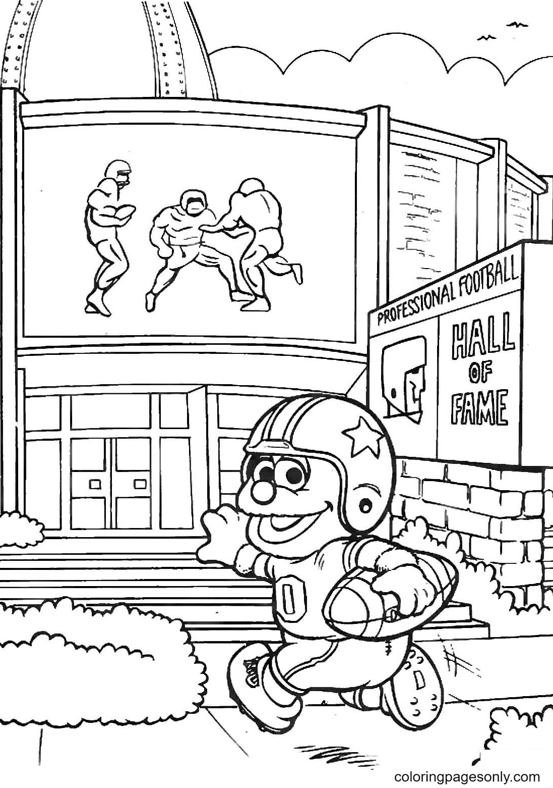 Baby Rowlf Plays Football Coloring Page