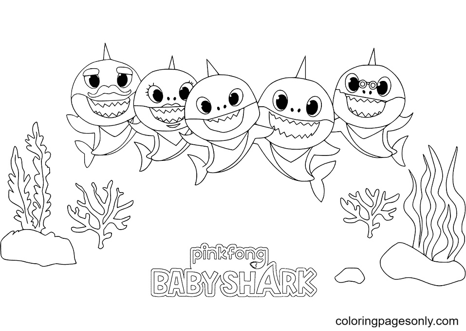 Baby Shark Family Coloring Page