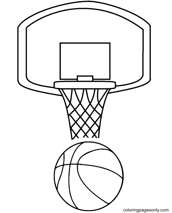 Basket and A Ball Coloring Page
