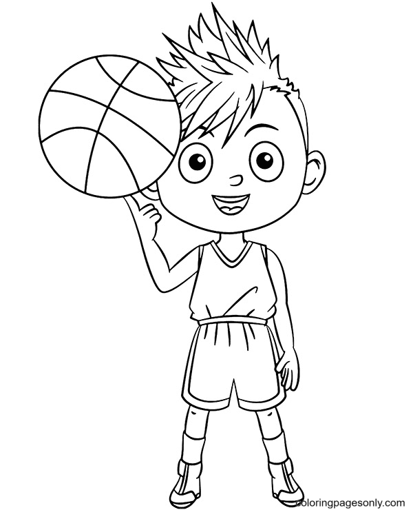Basketball Spin on a Finger Coloring Page