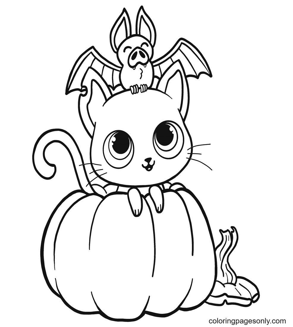 Bat, Cat and Pumpkin Coloring Page
