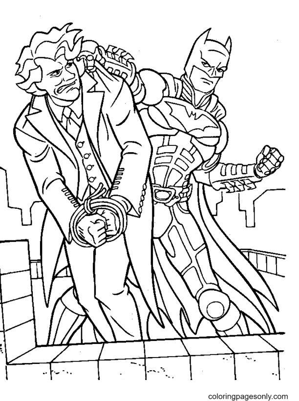 BatMan Catching Joker Coloring Page