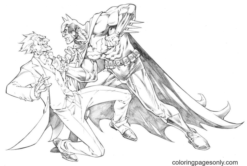 Batman caught Joker Coloring Page
