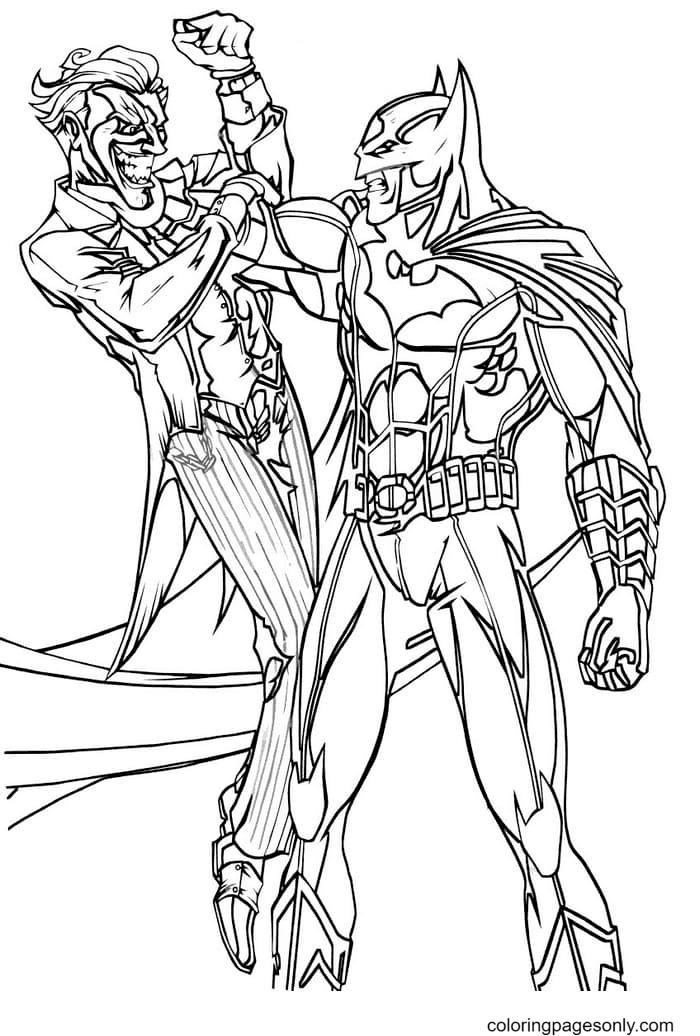Batman caught the Joker Coloring Page