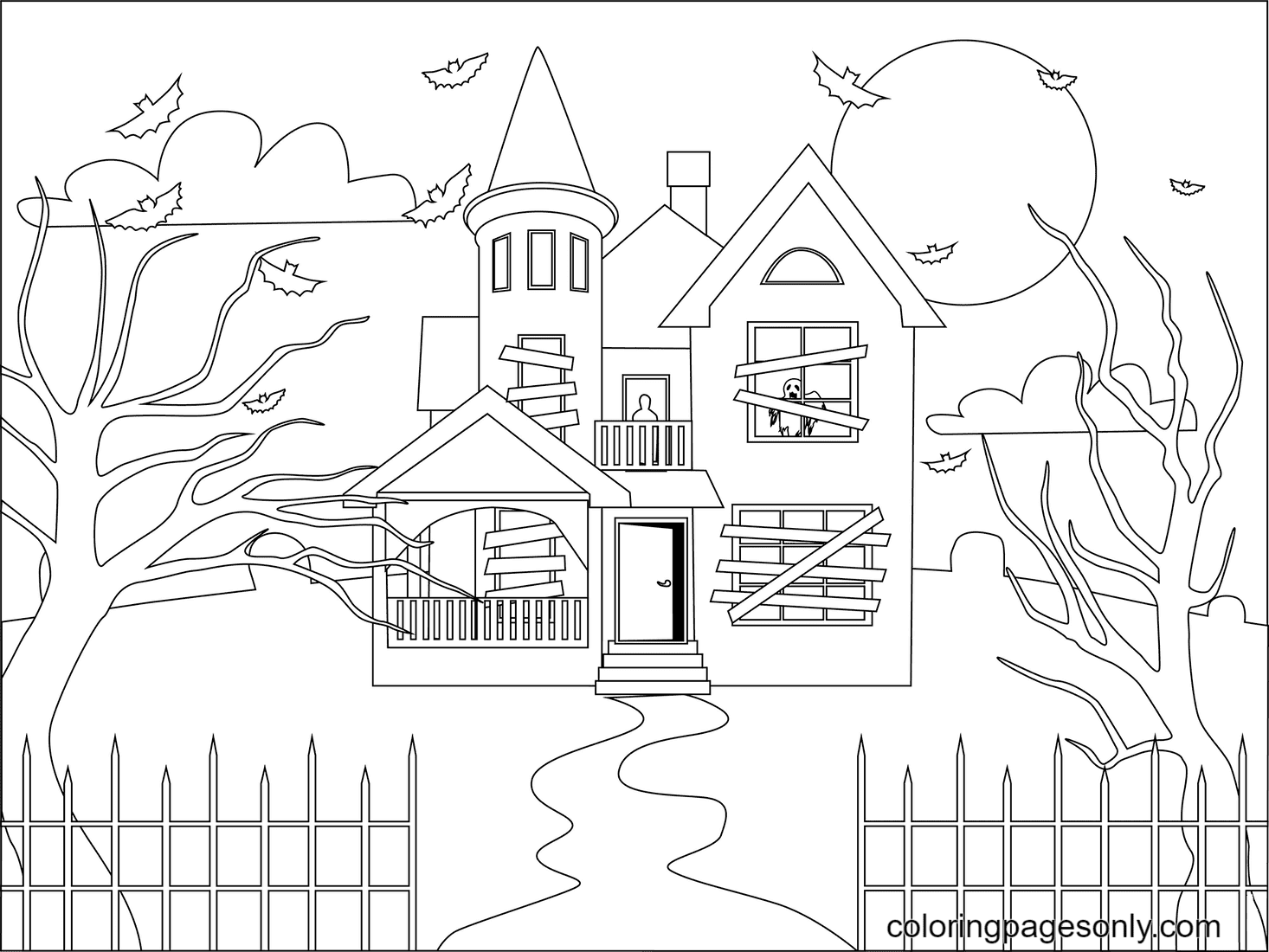 Bats Flying Around the Haunted House Coloring Page