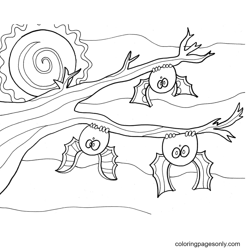 Bats for Halloween Coloring Page