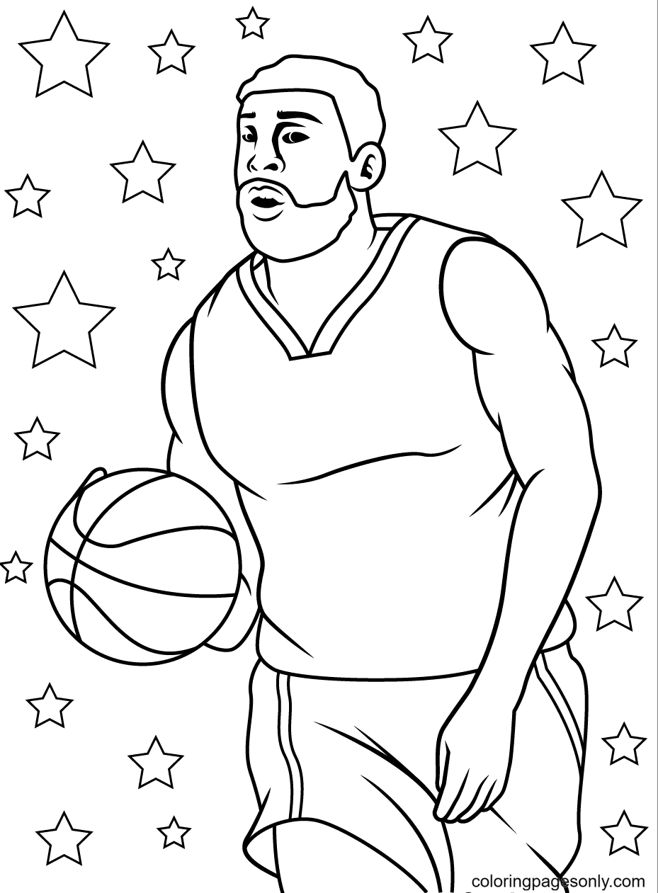 Bearded Basketball Player Coloring Page