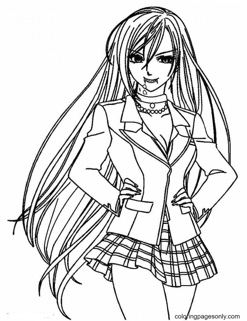 Beautiful Anime Vampire Coloring Page