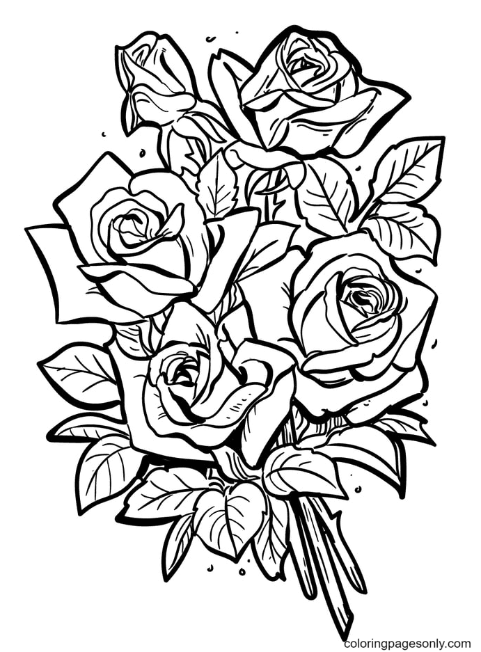 Beautiful Bouquet of Roses Coloring Page