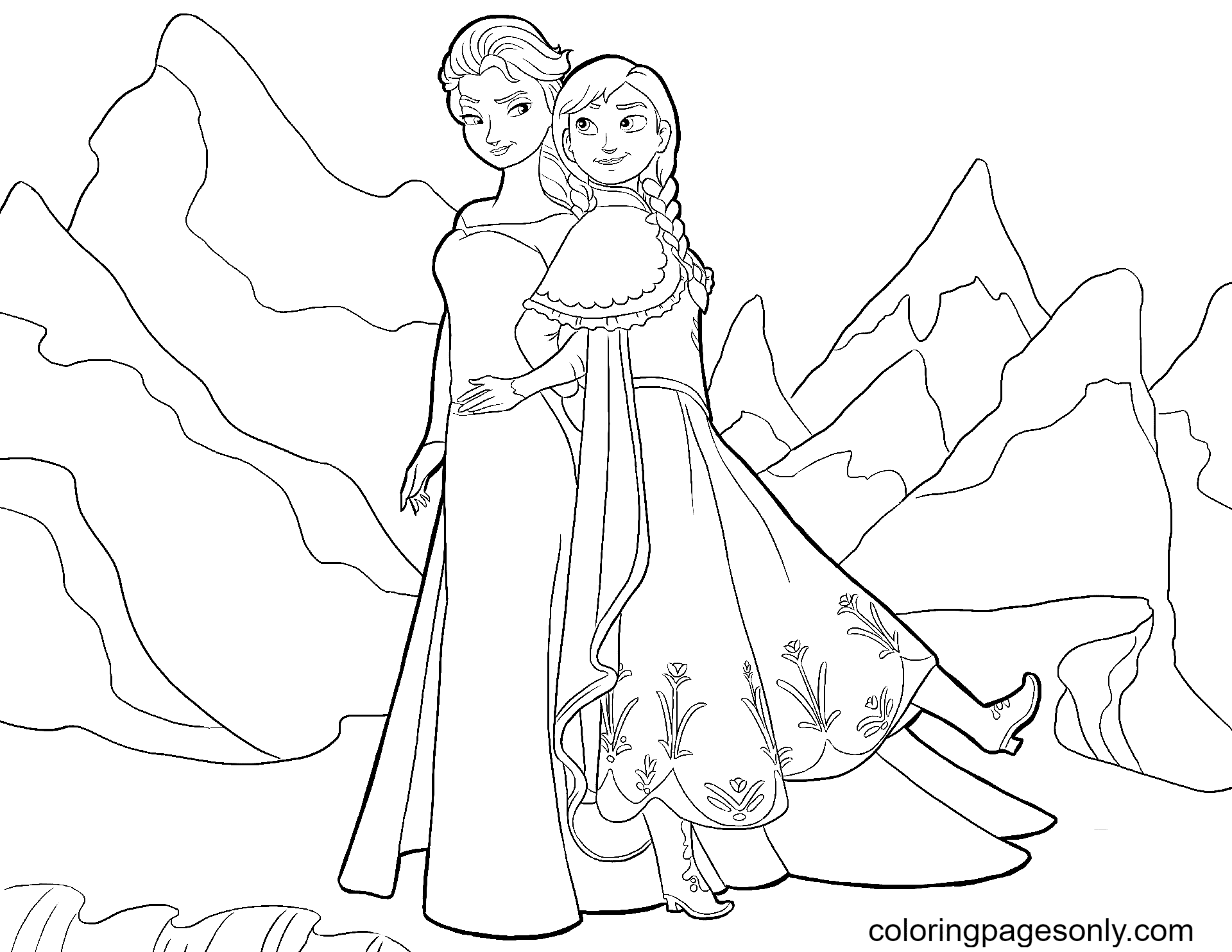 Beautiful Elsa, Anna Coloring Page