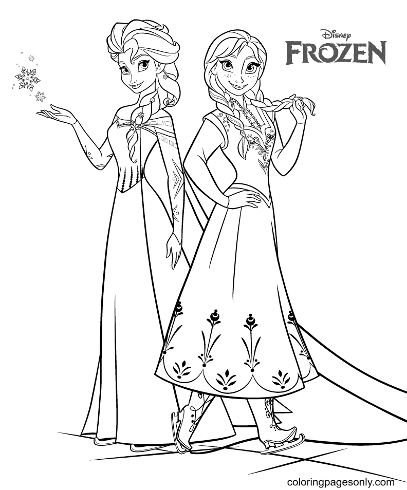 Beautiful Elsa and Anna Coloring Page