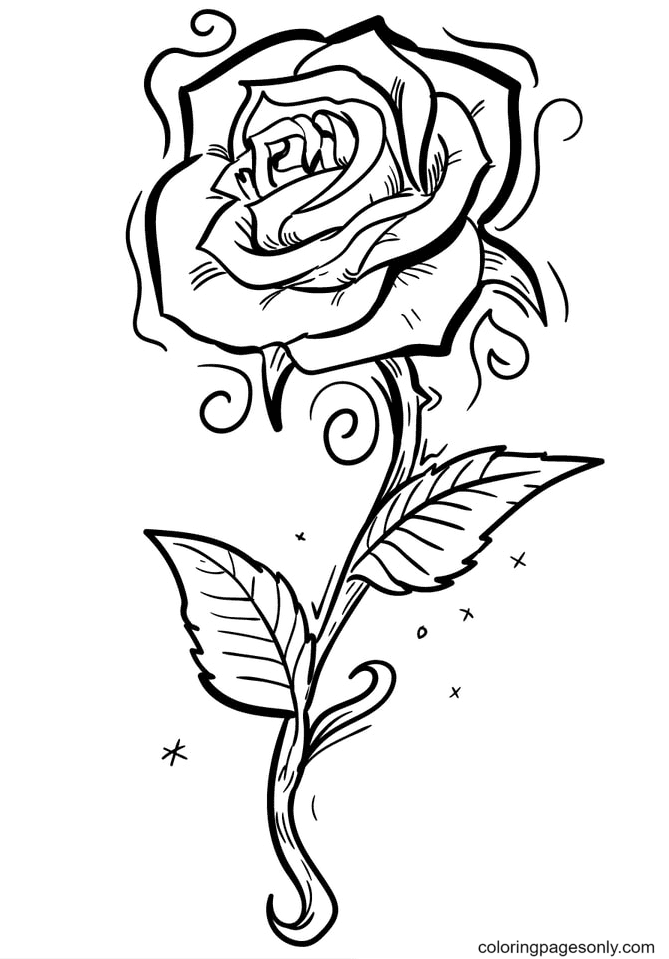 Beautiful Roses in a Garden Coloring Page