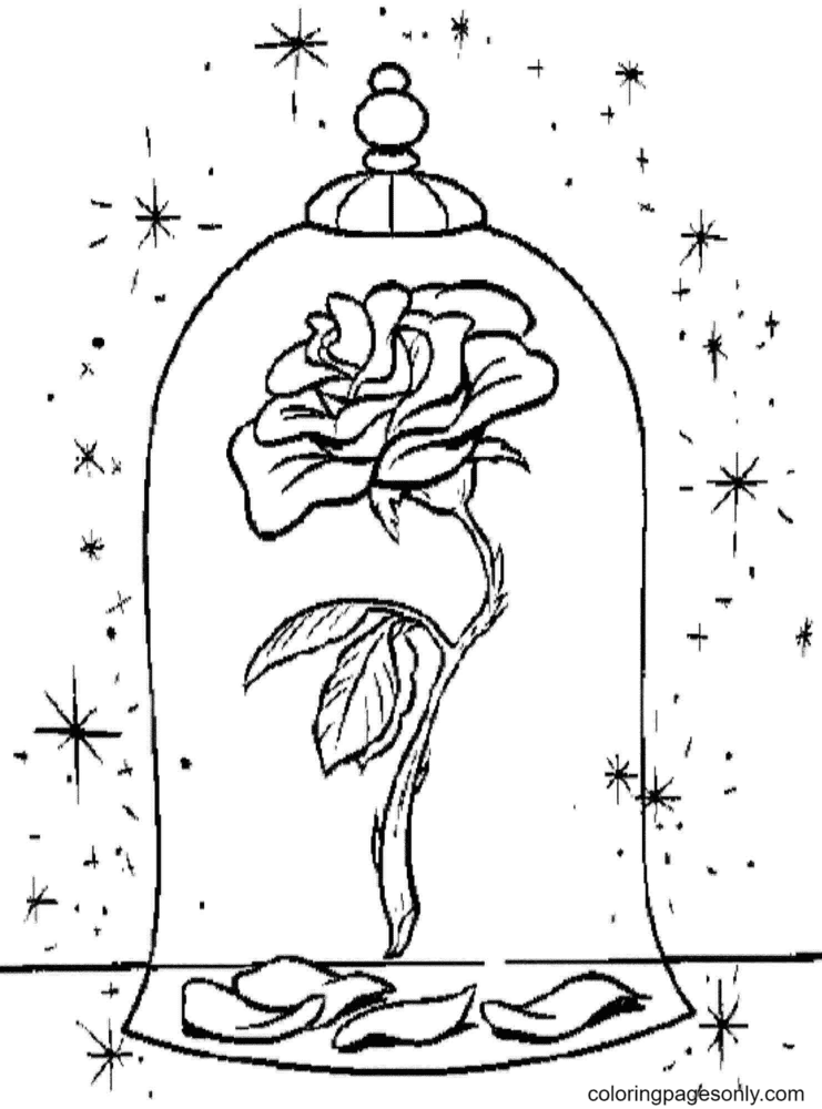 Beauty and Beast Rose Coloring Page