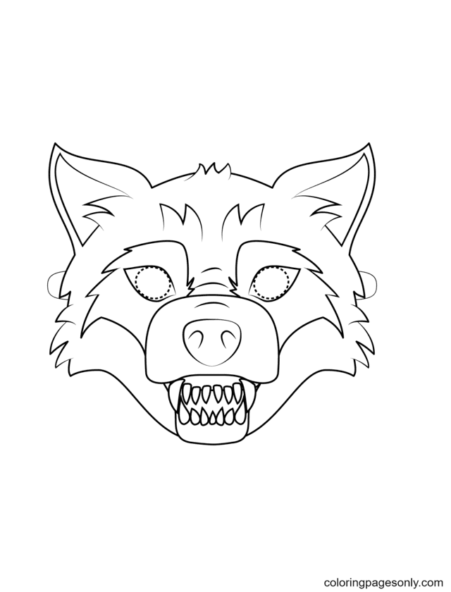 Big Bad Wolf Mask Coloring Page