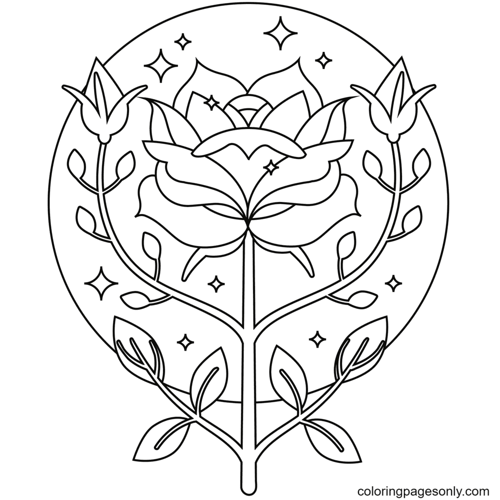 Big Rose and Two Flower Buds Coloring Page