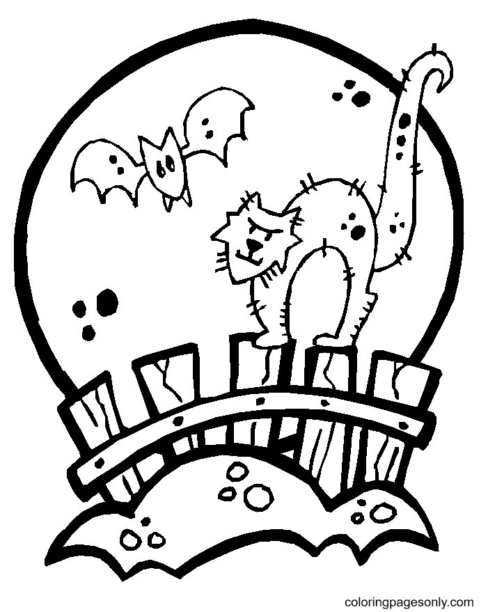 Black Cat, Bat and Full Moon Coloring Page