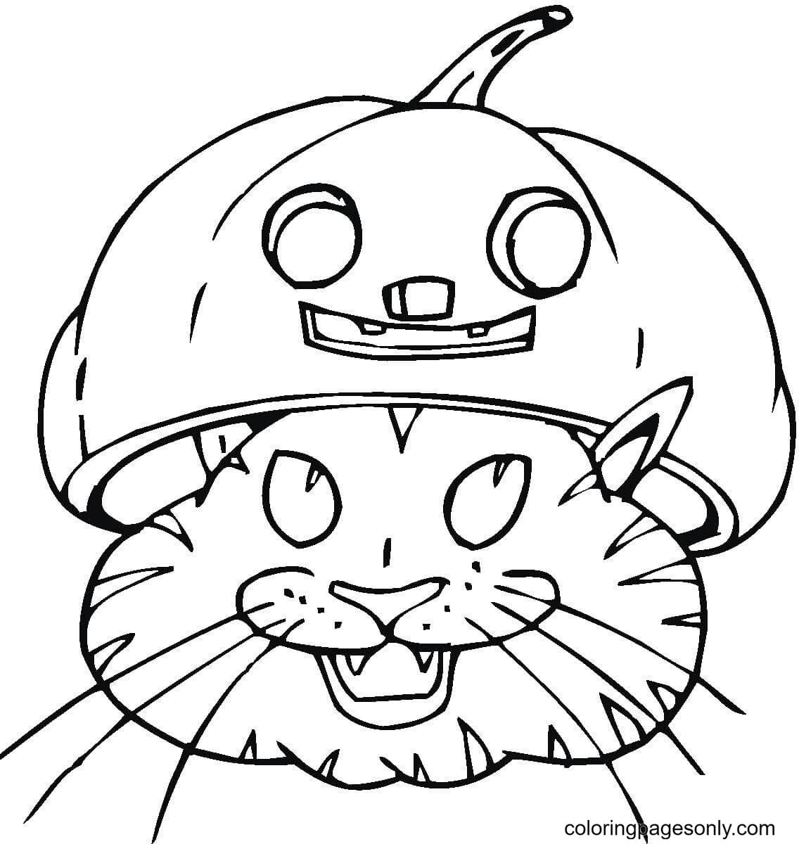 Black Cat In Jack-o'-lantern Coloring Page