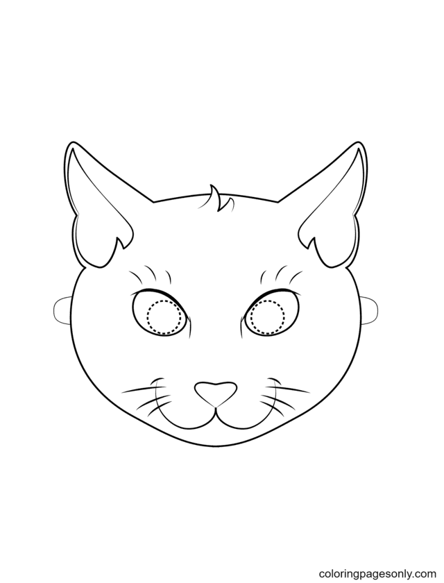 Black Cat Mask Coloring Page