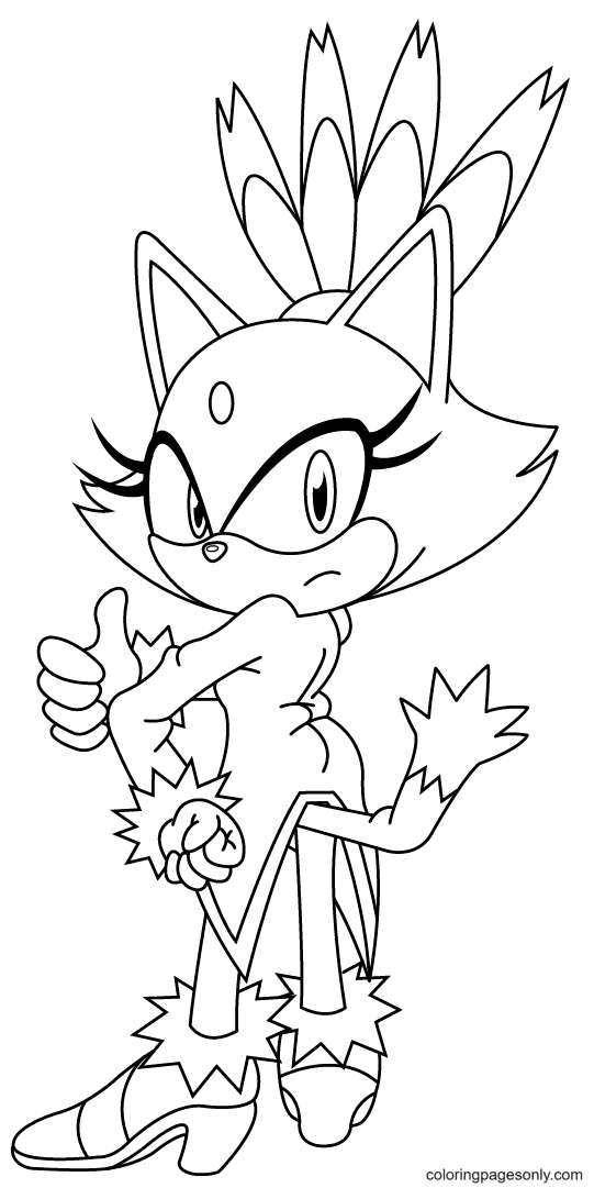 Blaze The Cat Coloring Page