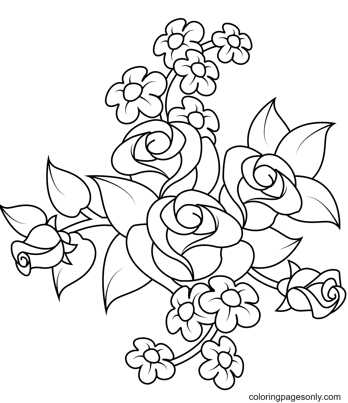 Bouquet of Roses With Three Big Flowers Coloring Page